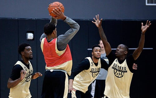 Basketball Players Practicing